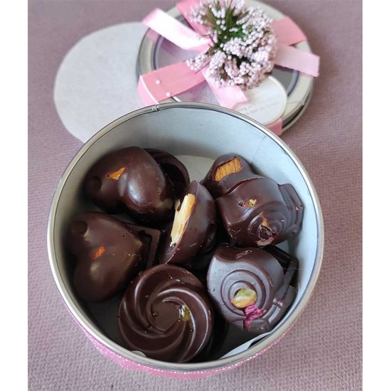 12 Dark Chocolate Pieces: Macadamia, Pistachios, Ginger, Almonds