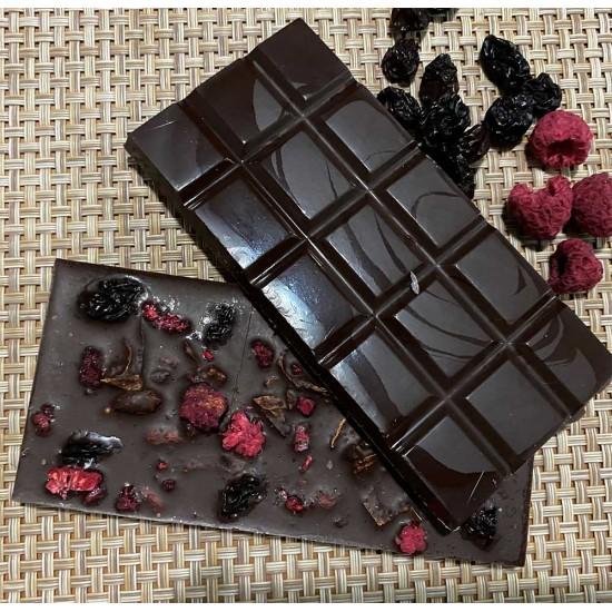 Dark Chocolate with Dry Raspberries, Goji Berries,  Raisins, Dry Oranges and Stevia