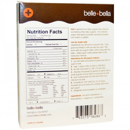 Belle And Bella Yogurt Starter - Non-Dairy - 20 Grams - Gluten Free - Vegan